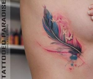 Pluma y Mariposas estilo Acuarelas