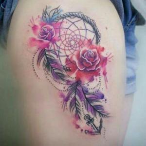 Atrapasueños y Flores Rosas