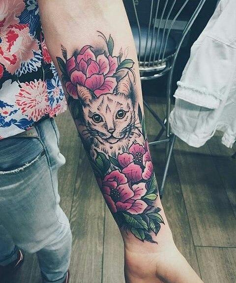 Gato entre Flores