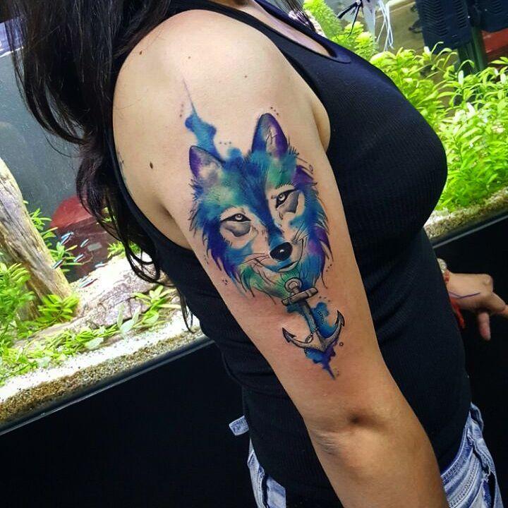 Lobo Estilo Acuarelas Tatuajes Para Mujeres