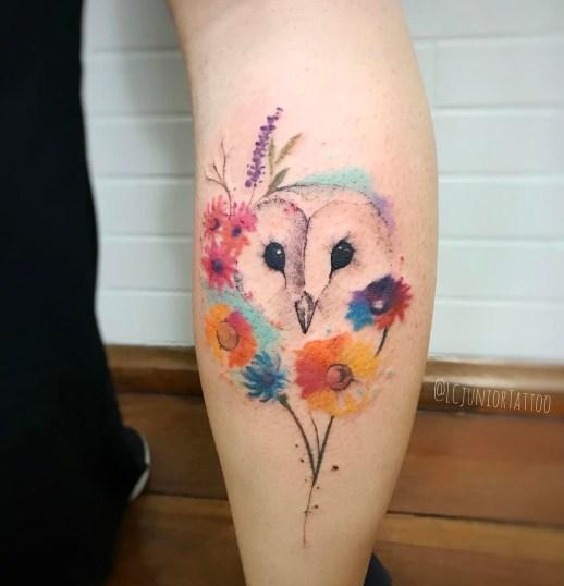 Lechuza estilo Acuarelas por LCJunior Tattoo