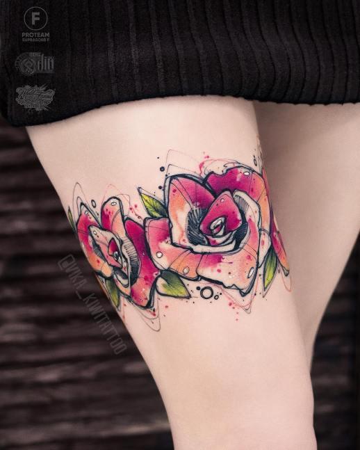 Flores en liga por Вика Kiwi Tattoo