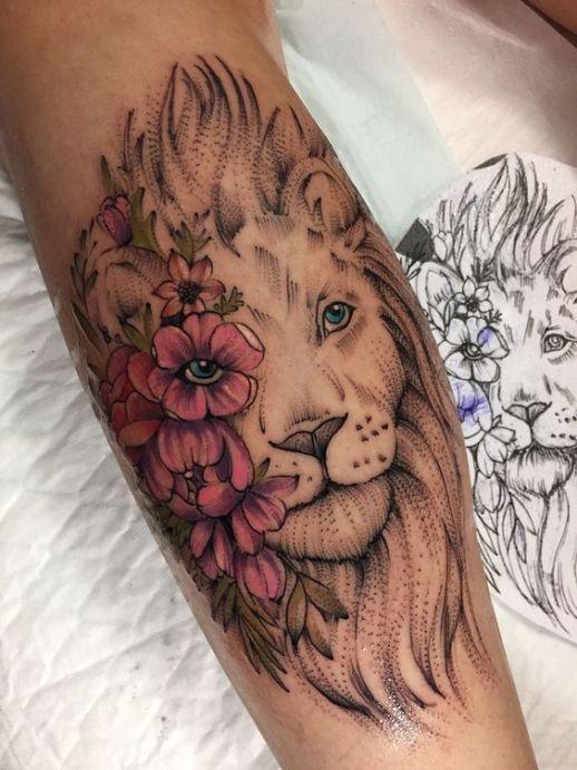 León con flores