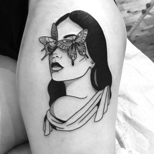 Silueta mujer con ojos de mariposas