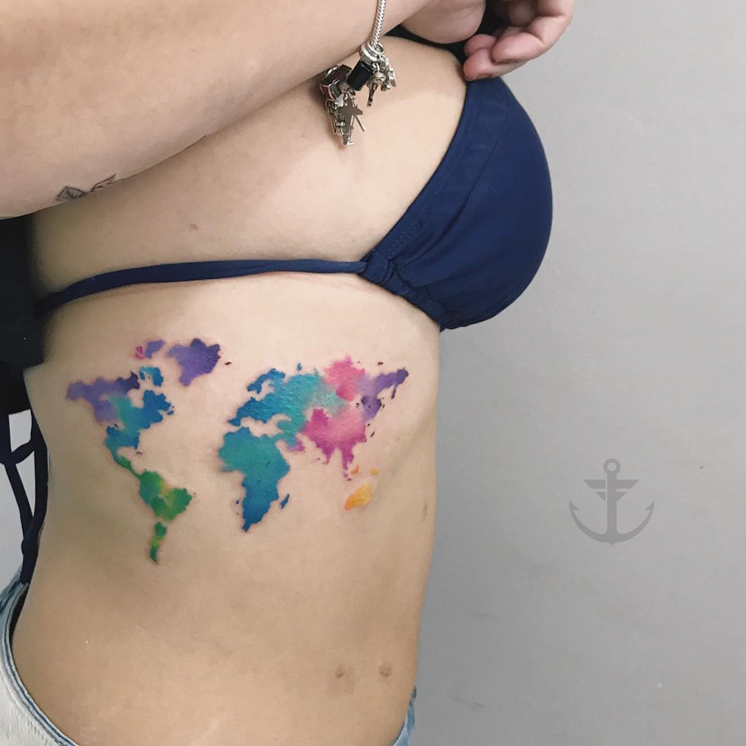 Tatuaje Mapa Del Mundo.Mapa Del Mundo Por Felipe Bernardes Tatuajes Para Mujeres