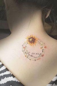 Corona de flores y girasol