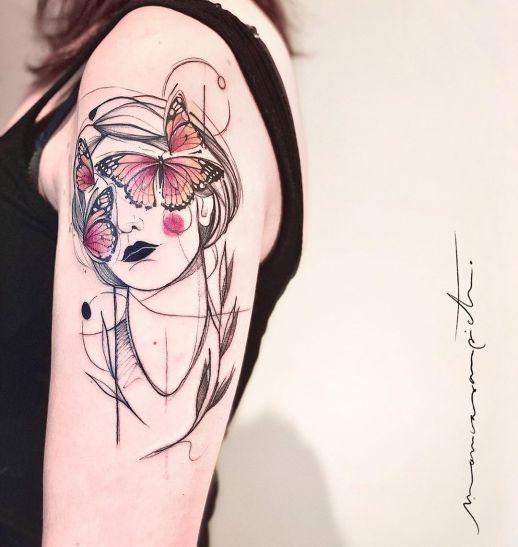 Mujer con ojos de mariposas por Mònica Sampietro