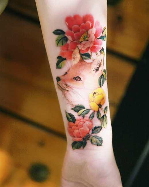 Zorro con flores por Tattooist Sion