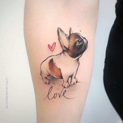 Frase: Love y perro Flor de girasol por Michele Mercuri