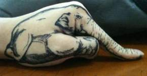elephant hand tattoo