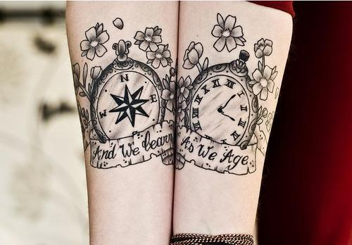 Pocket watch and compass tattoos - Tatuajesxd