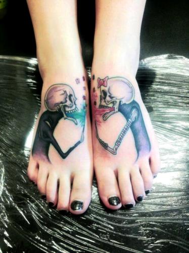 Tatuaje pareja calaveras