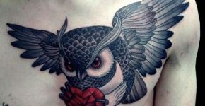 Owl tattoo heart