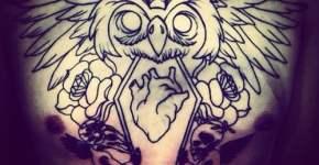 Tattoo búho con corazón