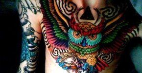 owl tattoo colour