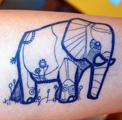 Elephant tattoo by David Hale