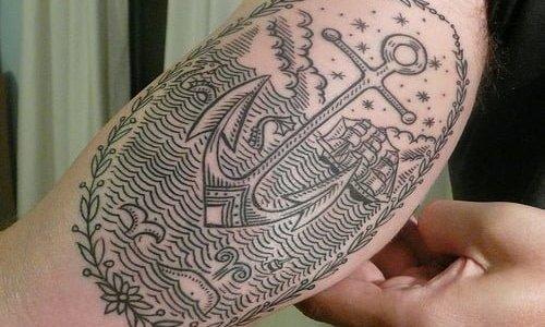 Anchor tattoo arm