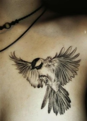 Bird tattoo on chest