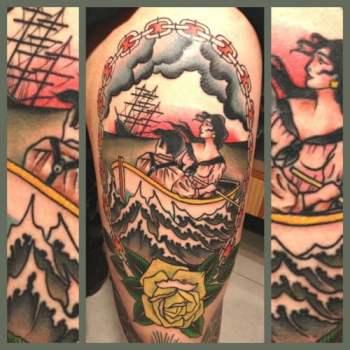 A couple portrait tattooed on leg