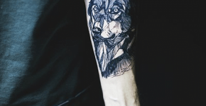 Wolf tattoo on forearm