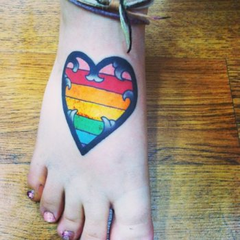 rainbow heart tattoo