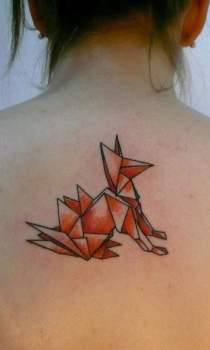 Fox tattoo for girl on the back