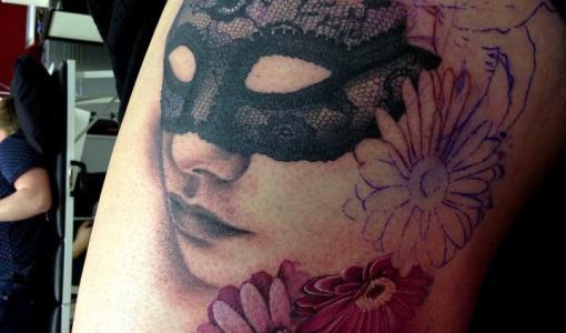 Mask tattoo for girls
