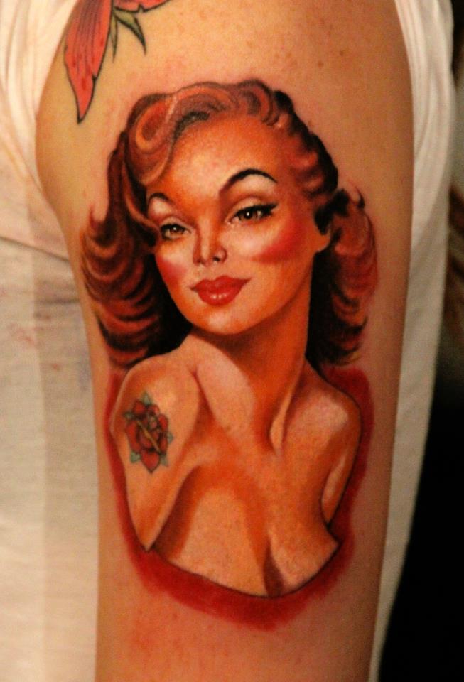 Pin Up Girl Tattoo On Arm Tatuajesxd