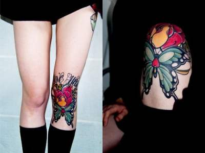 Butterfly tattoo on the knee
