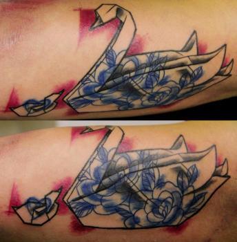 Paper crane tattoo Raychel maughan
