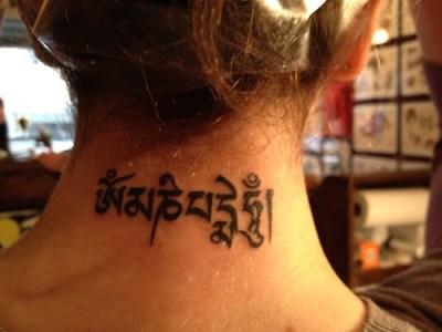 Tatuaje manta Om Mani Padme Hum