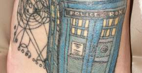 Tardis tattoo on foot