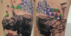 Tatuaje de rinoceronte por Xoil