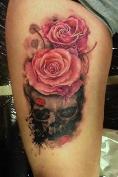 Pink Rose And Skeleton On Leg Tatuajesxd