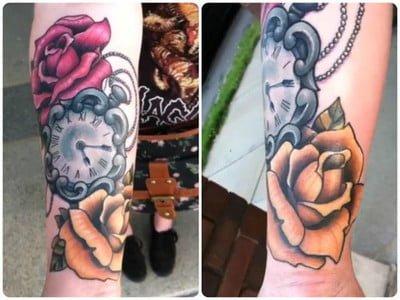 Tatuaje reloj y rosa en el brazo