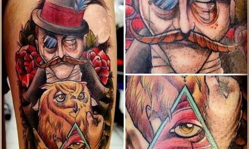 Tatuaje de hombre con chistera