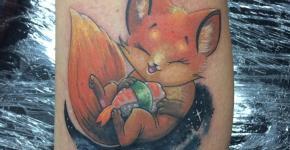 Tatuaje zorro comiendo sushi