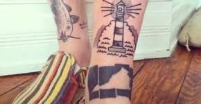 Tatuaje faro en la pierna