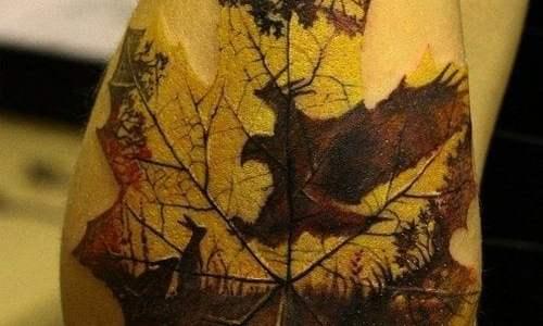 Tatuaje hoja arce