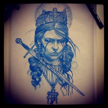 Dibujo preparatorio reina decapitada