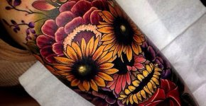 Tatuaje calavera flores