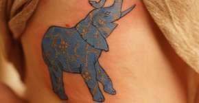 Tatuaje elefante azul