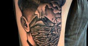 Tatuaje isla volcánica