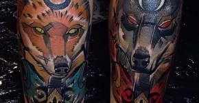 Tatuaje de zorro y lobo