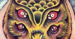 Tatuaje de búho dos cabezas