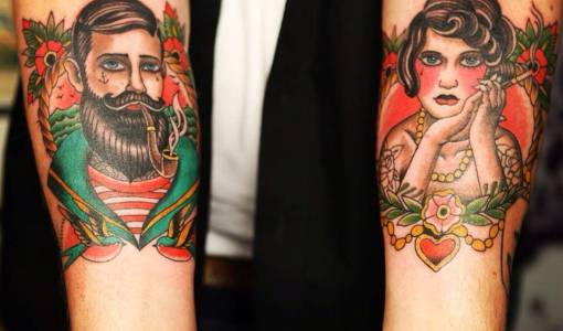 Tatuaje de marinero y camarera
