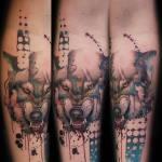 Tatuaje lobo enseñando los dientes