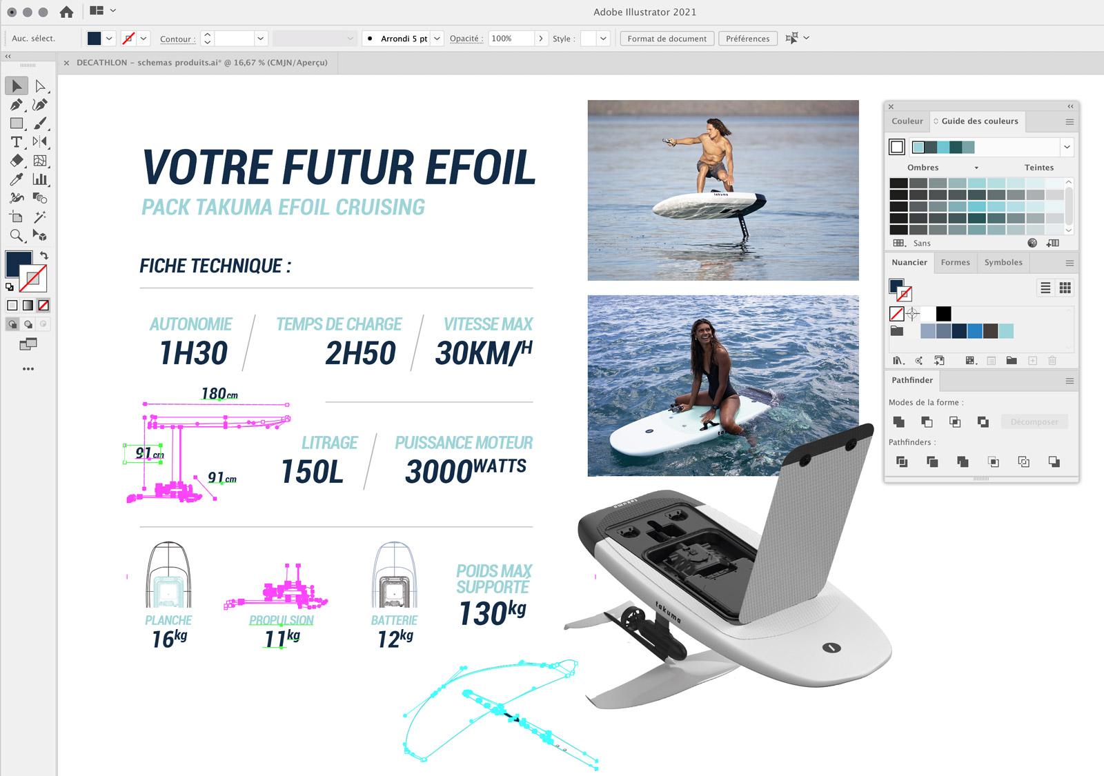 Maquette catalogue Decathlon Tribord - sports nautiques -Illustration technique Illustrator