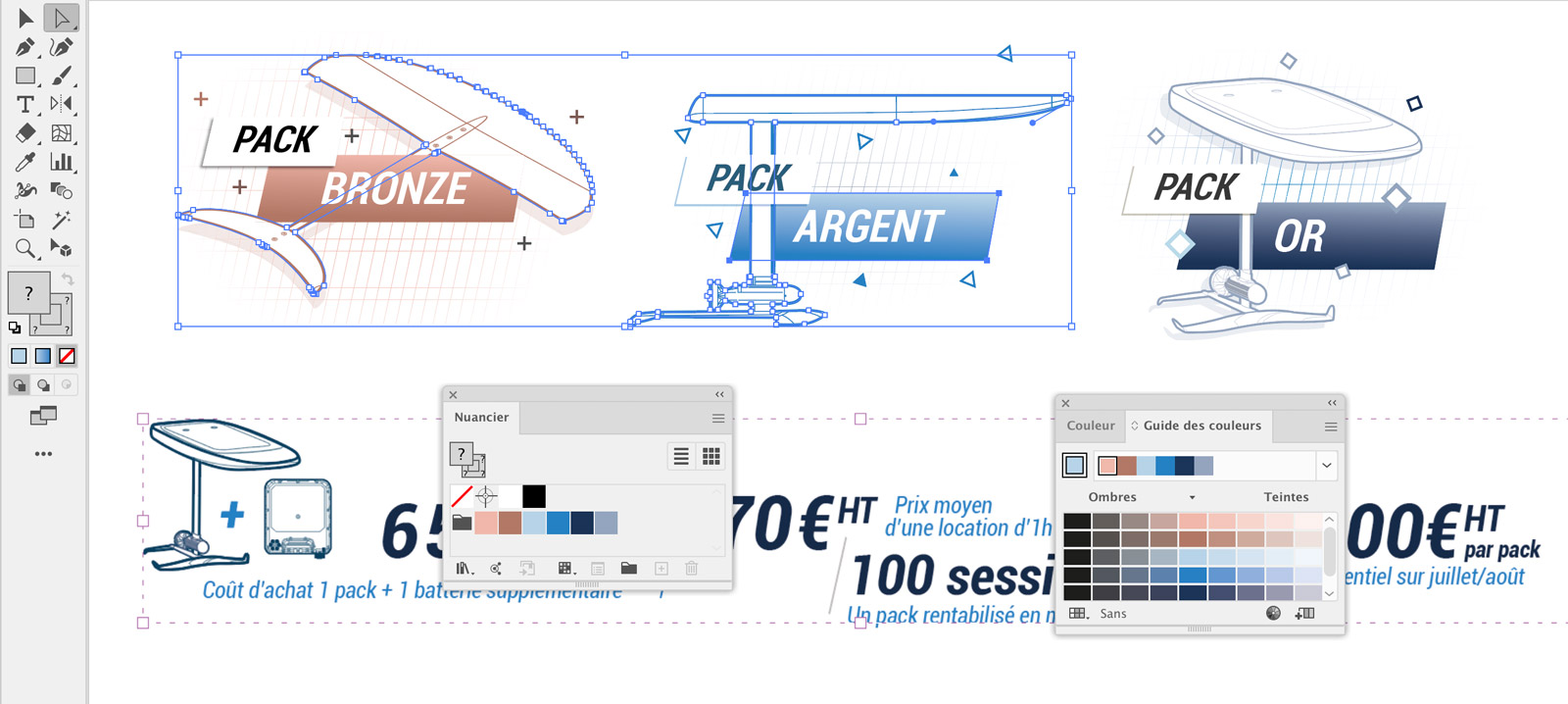 Créations vectorielles catalogue Decathlon Efoil - WakeBoard Illustrator