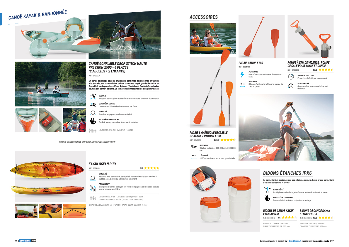 Maquette catalogue Decathlon Tribord - sports nautiques